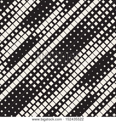 Vector Seamless Black And White Diagonal Lines Halftone Pattern. Abstract Geometric Background Design