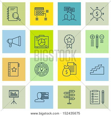 Set Of Project Management Icons On Analysis, Decision Making And Personal Skills Topics. Editable Ve