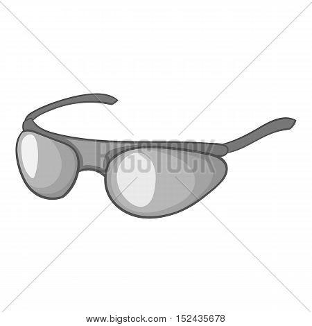 Cycling sunglasses icon. Gray monochrome illustration of cycling sunglasses vector icon for web