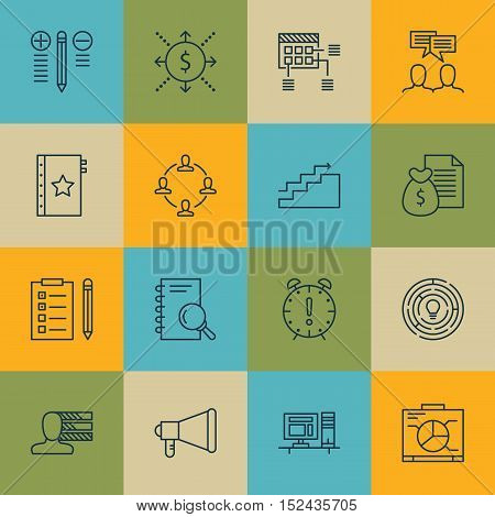 Set Of Project Management Icons On Analysis, Report And Announcement Topics. Editable Vector Illustr