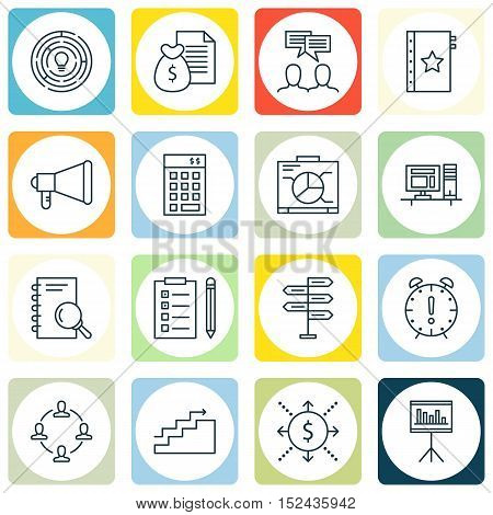 Set Of Project Management Icons On Board, Growth And Presentation Topics. Editable Vector Illustrati