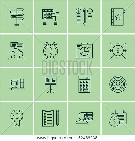 Set Of Project Management Icons On Report, Reminder And Decision Making Topics. Editable Vector Illu
