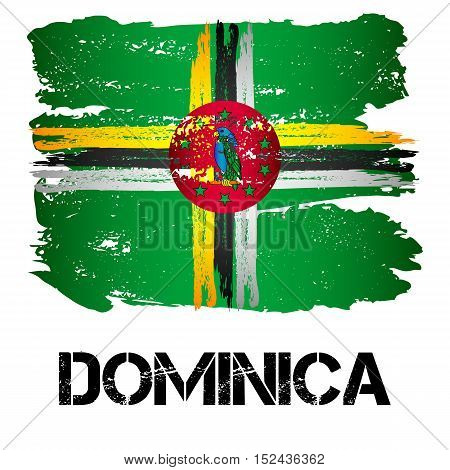 Flag of Commonwealth of Dominica from brush strokes in grunge style isolated on white background. Country in North America. Vector illustration