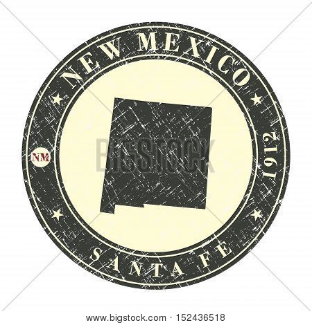 Vintage stamp with map of New Mexico. Stylized badge with the name of the State year of creation the contour maps and the names abbreviations . Vector illustration