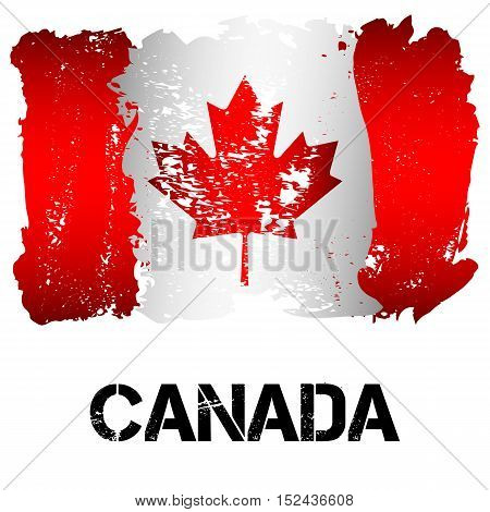 Flag of Canada from brush strokes in grunge style isolated on white background. Independent state in North America within Commonwealth headed by Great Britain. Vector illustration