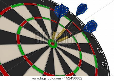 Dart Board With Three Eu Flag Darts In Bullseye 3D Illustration
