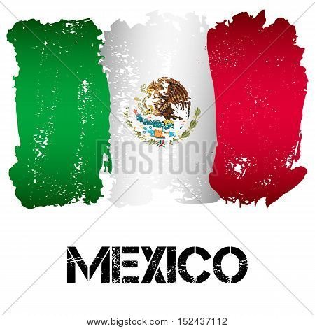 Flag of Mexico from brush strokes in grunge style isolated on white background. Country in North America. Latin America. Vector illustration