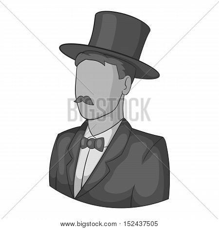 Male avatar in suit with hat icon. Gray monochrome illustration of male avatar in suit with hat vector icon for web