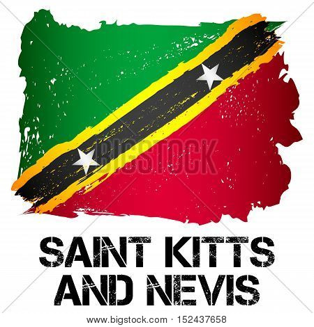 Flag of Saint Kitts and Nevis from brush strokes in grunge style isolated on white background. Independent state in North America within Commonwealth headed by Great Britain. Vector illustration