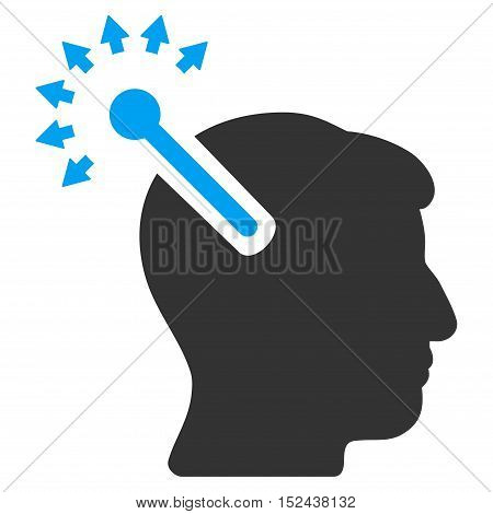 Optical Neural Interface vector icon. Style is flat graphic bicolor symbol, blue and gray colors, white background.