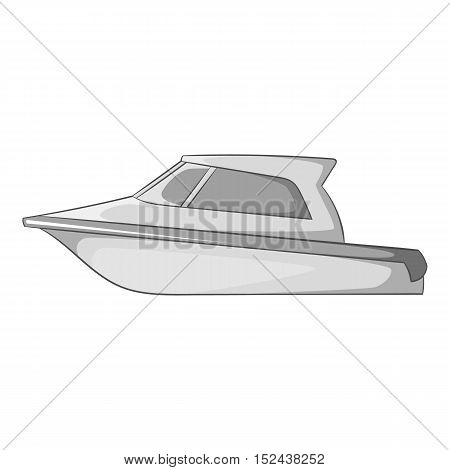 Speed boat icon. Gray monochrome illustration of speed boat vector icon for web