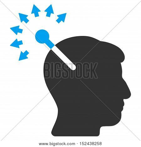 Optical Neural Interface vector pictograph. Style is flat graphic bicolor symbol, blue and gray colors, white background.