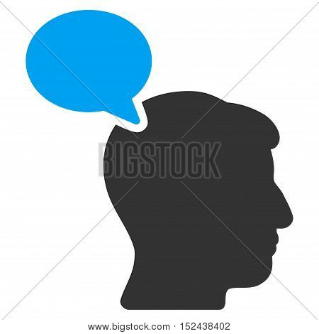 Person Opinion vector pictogram. Style is flat graphic bicolor symbol, blue and gray colors, white background.