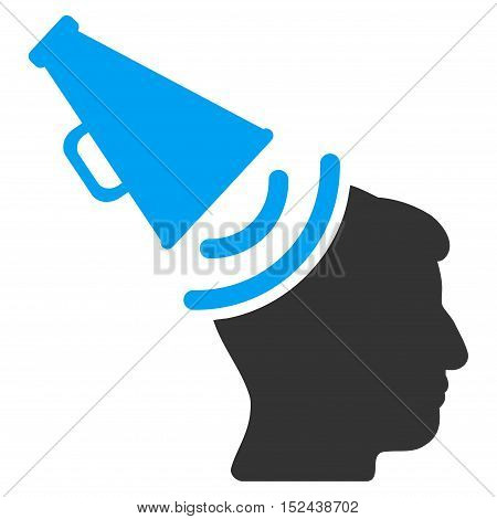 Propaganda Megaphone vector icon. Style is flat graphic bicolor symbol, blue and gray colors, white background.
