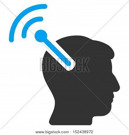 Radio Neural Interface vector pictogram. Style is flat graphic bicolor symbol, blue and gray colors, white background.