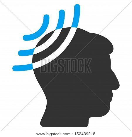Radio Reception Head vector icon. Style is flat graphic bicolor symbol, blue and gray colors, white background.