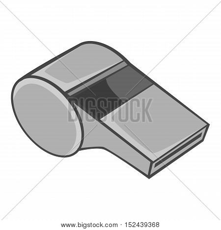 Whistle of refere icon. Gray monochrome illustration of whistle of refere vector icon for web