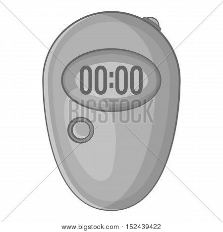 Stopwatch icon. Gray monochrome illustration of stopwatch vector icon for web