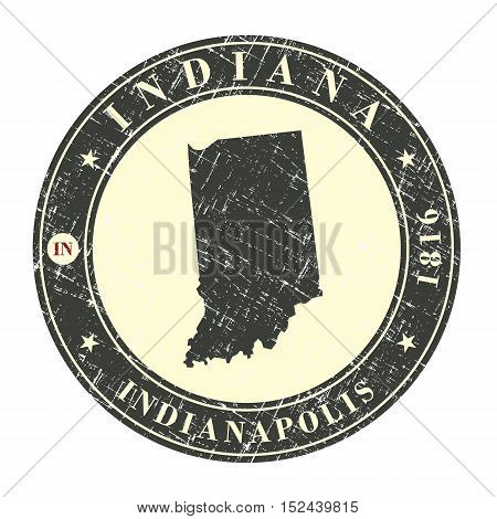 Vintage stamp with map of Indiana. Stylized badge with the name of the State year of creation the contour maps and the names abbreviations . Vector illustration
