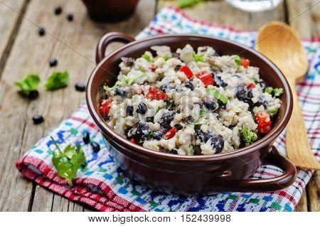 Black beans pepper cilantro cauliflower brown rice.