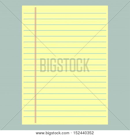 Yellow lined paper. School notebook paper, vector illustration