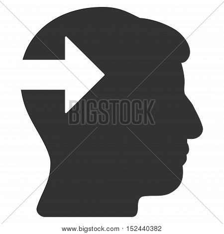 Head Plug-In Arrow vector pictogram. Style is flat graphic symbol, gray color, white background.