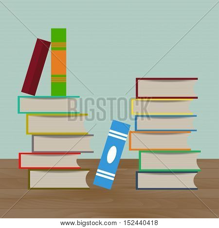 Stacks of multi colored books vector illustration