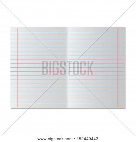 Paper line vector. School notebook paper, vector illustration