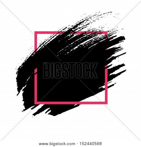 Abstract background. Hand painted ink black brush stroke and red square frame isolated on white backdrop. Element for design