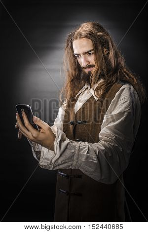 Medieval Pirate With Mobile Phone