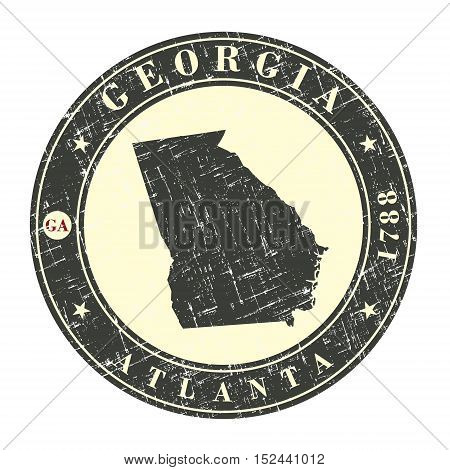 Vintage stamp with map of Georgia. Stylized badge with the name of the State year of creation the contour maps and the names abbreviations . Vector illustration