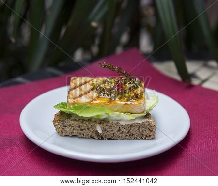 Closeup of sandwich with grilled tofu and spices
