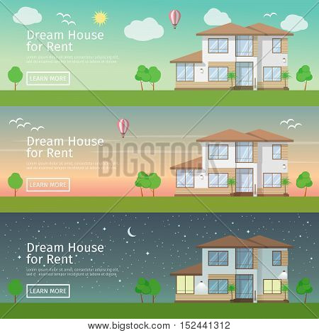 Beautiful set of flat vector web banners on the theme of modern Real Estate at different times of day