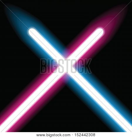Laser swords, neon lamps, vector design art