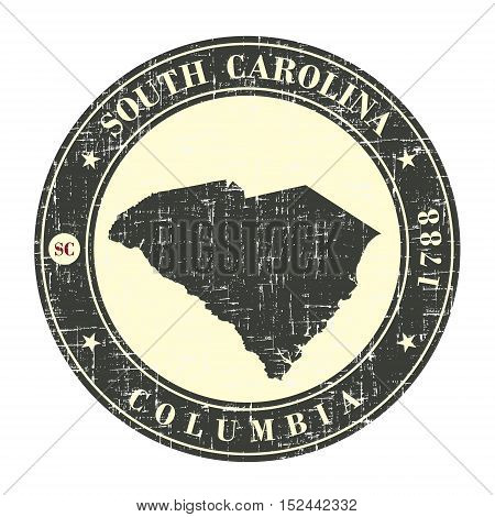 Vintage stamp with map of South Carolina. Stylized badge with the name of the State year of creation the contour maps and the names abbreviations . Vector illustration
