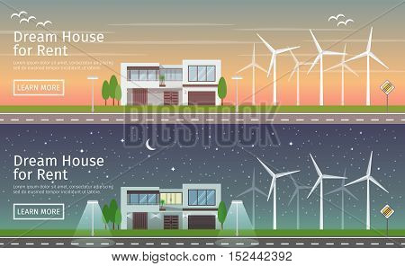 Modern big House with alternative Eco Green Energy, sunset and night, flat web banners set. Wind Turbines. Vector illustration.
