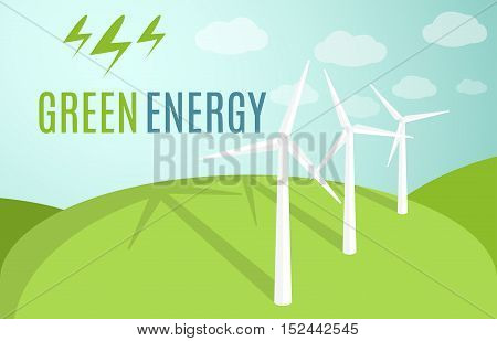 Wind Turbines banner. Modern Alternative Eco Green Energy. Vector illustration