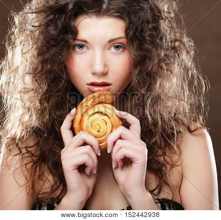 young beauty girl with cake, happy time