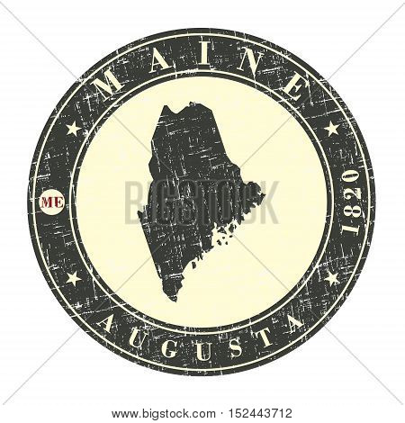 Vintage stamp with map of Maine. Stylized badge with the name of the State year of creation the contour maps and the names abbreviations . Vector illustration