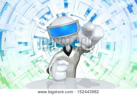 The Original 3D Character Illustration Retro Future Man