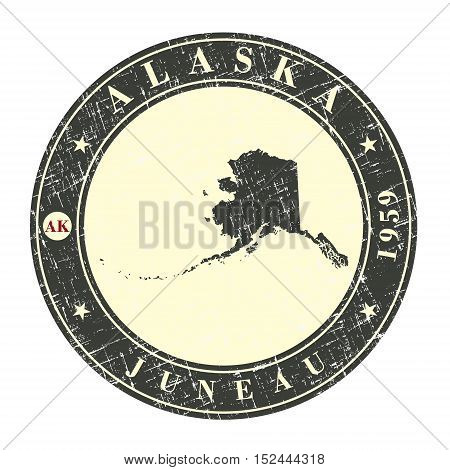Vintage stamp with map of Alaska. Stylized badge with the name of the State year of creation the contour maps and the names abbreviations . Vector illustration