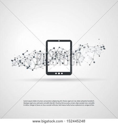 Abstract Cloud Computing and Global Network Connections Concept Design with Digital Tablet, Wireless Mobile Device, Transparent Geometric Mesh - Illustration in Editable Vector Format