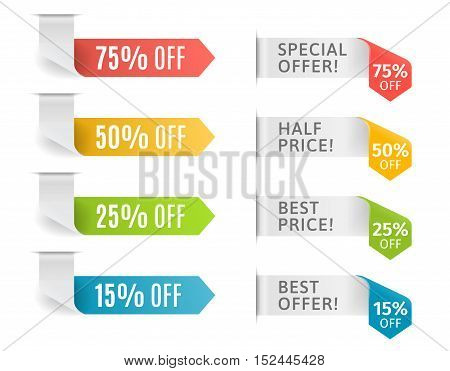 Colorful arrows with offer and price tags. Vector illustration.