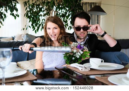 New married couple in a cafe