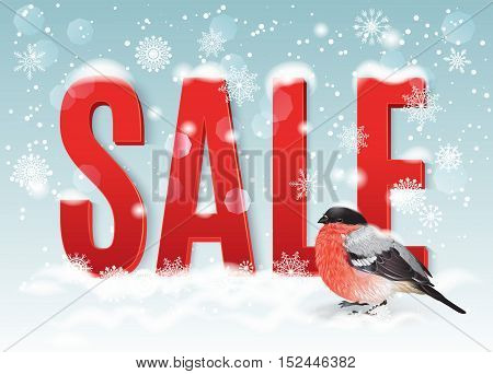 Vector Christmas sale banner with big red letters and cute bullfinch bird on snowfall background. Design for any kind of winter discounts. Best for big Christmas clearance