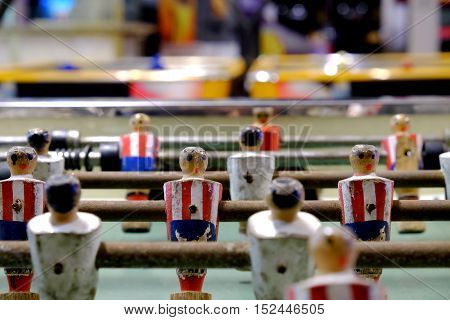 Table soccer with the old wooden figures.
