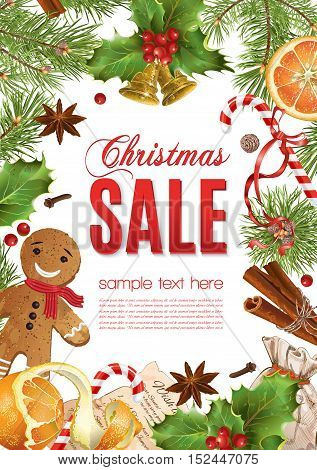 Vector Christmas sale banner with traditional decoration, Christmas tree branches and sweets. Design for any kind of products.