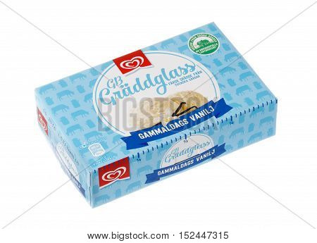 Stockholm, Sweden - January 23, 2016: A pack of 0.5 liters of ice cream with vanilla flavor produced by the GB for the Swedish market isolated on white.