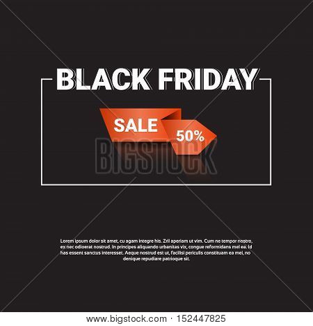 Black Friday Sale Holiday Shopping Banner Copy Space Vector Illustration