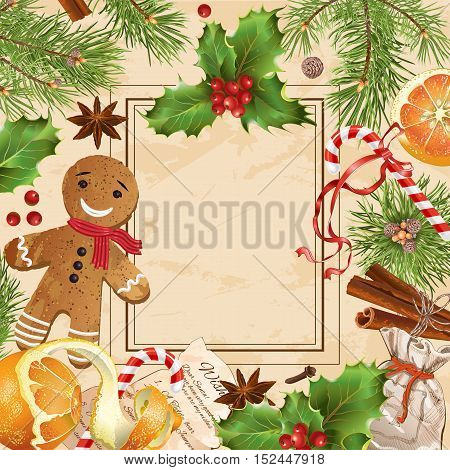 Vector Christmas banner with traditional decoration, Christmas tree branches and sweets. Design for any kind of products. Can be used as greeting card